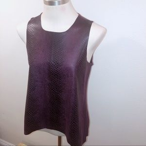 OLIVEACEOUS DARK RED SNAKESKIN TANK TOP MEDIUM